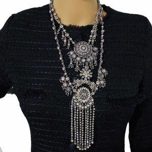 Zara Diamante Long Statement Necklace.